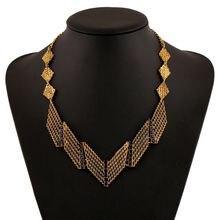 Lzhlq геометрические Металлические ожерелья винтажное открытое