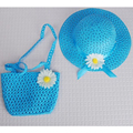Ventas al por mayor Lovely Baby chica Kids Straw Flower Sun Cap Summer Party niño Beach Hat + bolso Bag Gift Set