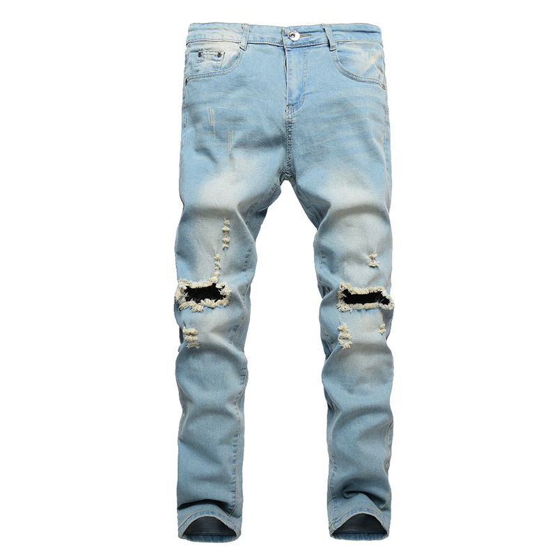 2018 New Ripped   Jeans   Men Patchwork Hollow Out Printed Beggar Cropped Pants Man Cowboys Demin Pants Male