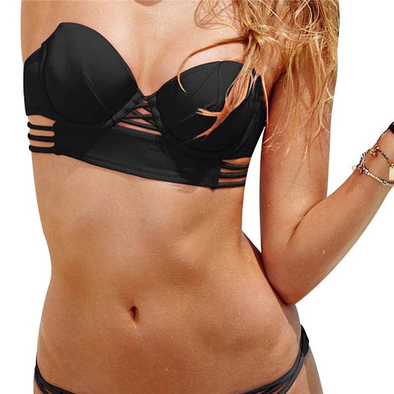 M&M Women Solid Sexy Bandeaus Bikini Top Cutout Brazilian Girls Beach Push Up Women Swimwear Print Halter Sport Bra Biquini T611