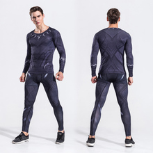 2017 Mens Avenger Black Panther Two Piece Set Suits Male Crossfit T-Shirt Fitness Legging Outfit Pant Compression Tracksuits