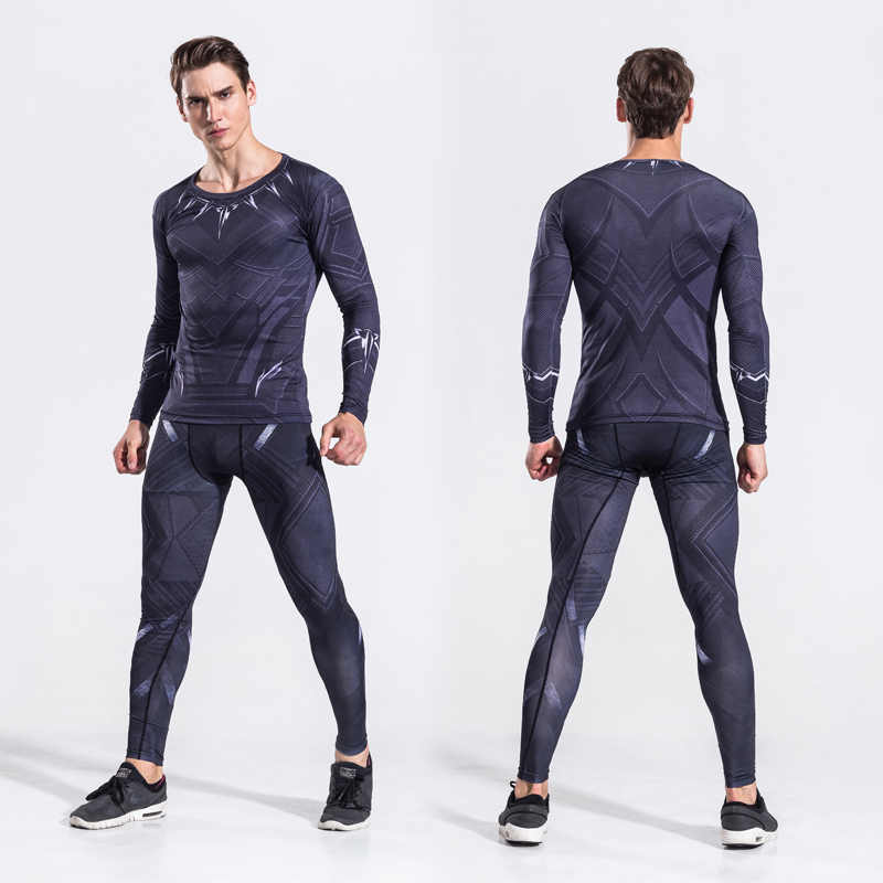 33e18109b8d 2018 Mens Avenger Black Panther Two Piece Set Suits Male Crossfit T-Shirt  Fitness Legging
