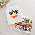 2017 new summer baby clothing set boys girls 100% cotton cartoon sleeveless T-shirt + pants 2pcs children's suits free shipping
