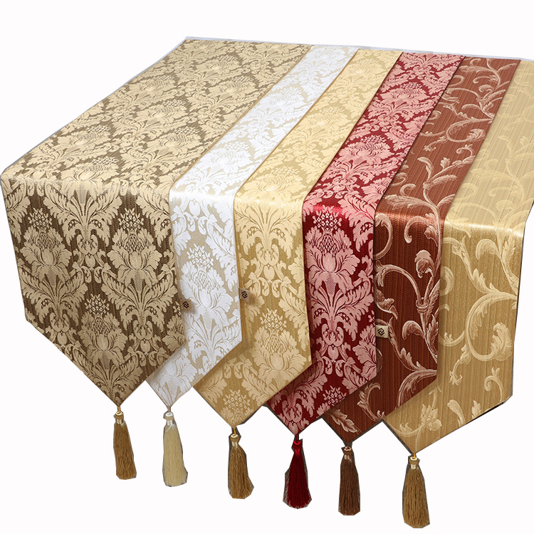 New Jacquard Rustic Table Runner Modern Cotton Linen Coffee Table Cloth Rectangular Dining Table Protection Pads
