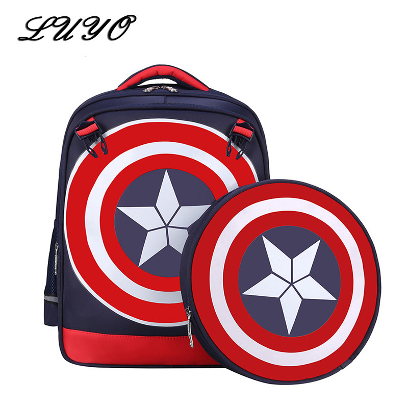 2017 Waterproof High Quality Nylon Children Boy Cartoon Backpack Captain America School Bags Mochila Masculina Cartable Enfant