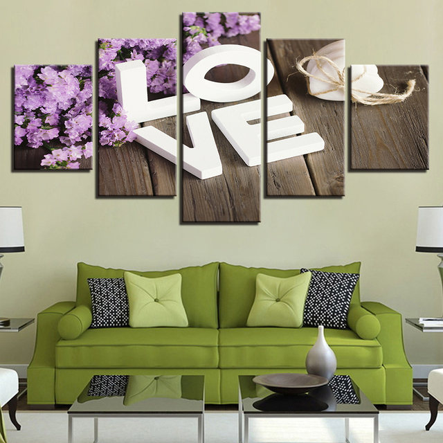 Canvas Wall Art Picture Frame Kitchen Restaurant Decor 5 Pieces Purple Little Flower Love Living Room : purple and green wall art - www.pureclipart.com
