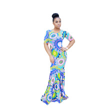 2016 Kurzarm Abendkleid Maxi Print Kleider Top Qualität Hohe Design Sommer Langes Kleid Celeb Sexy Casual Dress S9668