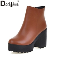 Fashion Women Ankle Boots Vintage Style Zip Up Square Heels Round Toe Lady Warm Winter Autumn