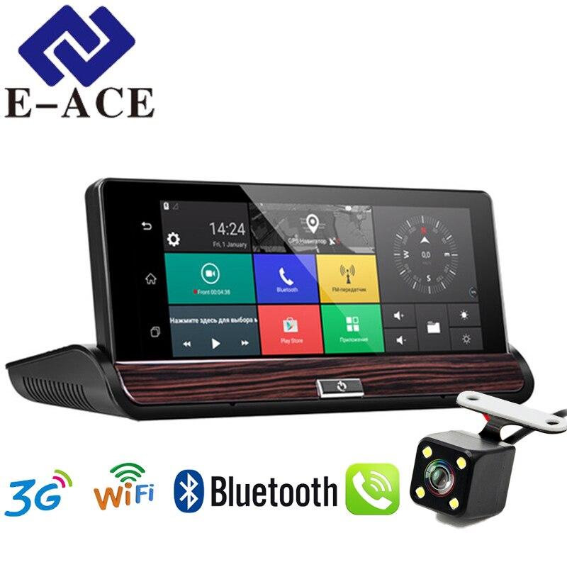 E-ACE Cámara 3G coche Dvr navegación GPS 16G Auto Camara Android 7,0 pulgadas espejo retrovisor FHD 1080 p grabadora de Video Wifi Bluetooth
