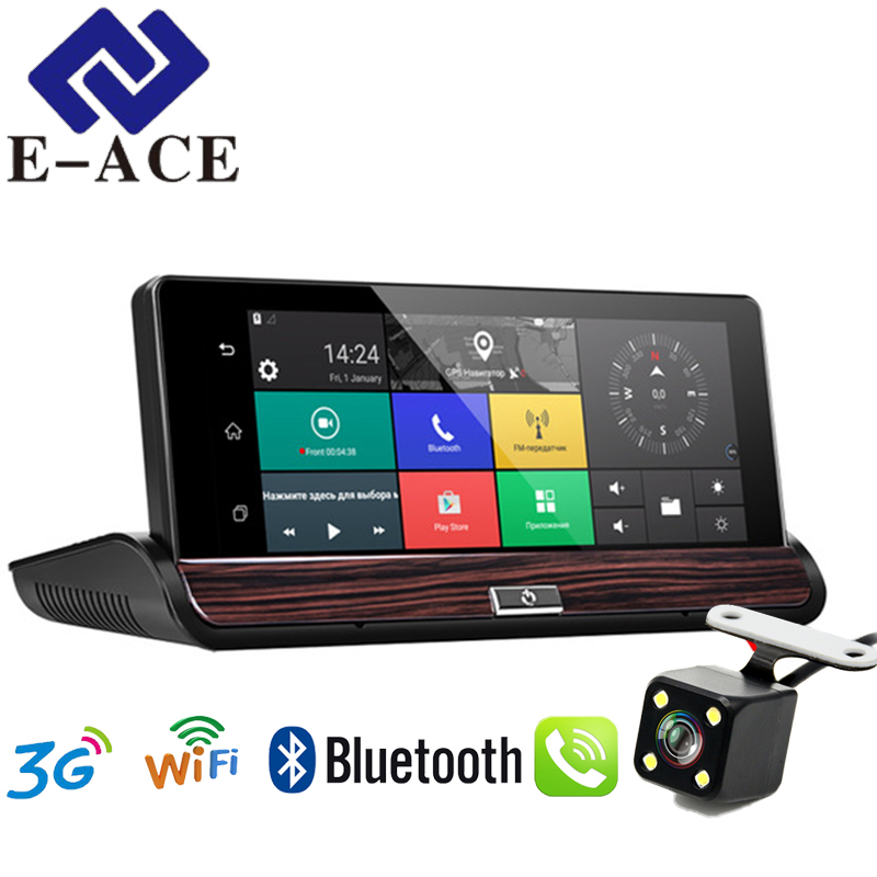 E-ACE Dashcam 3G Car Dvr GPS Navigation 16G Auto Camara Android 7.0 Inch Rearview Mirror FHD 1080P Video Recorder Wifi Bluetooth e ace auto gps navigation tracker car dvr 3g wifi camera 7 touch screen android navigators 1080p video recorder rearview mirror