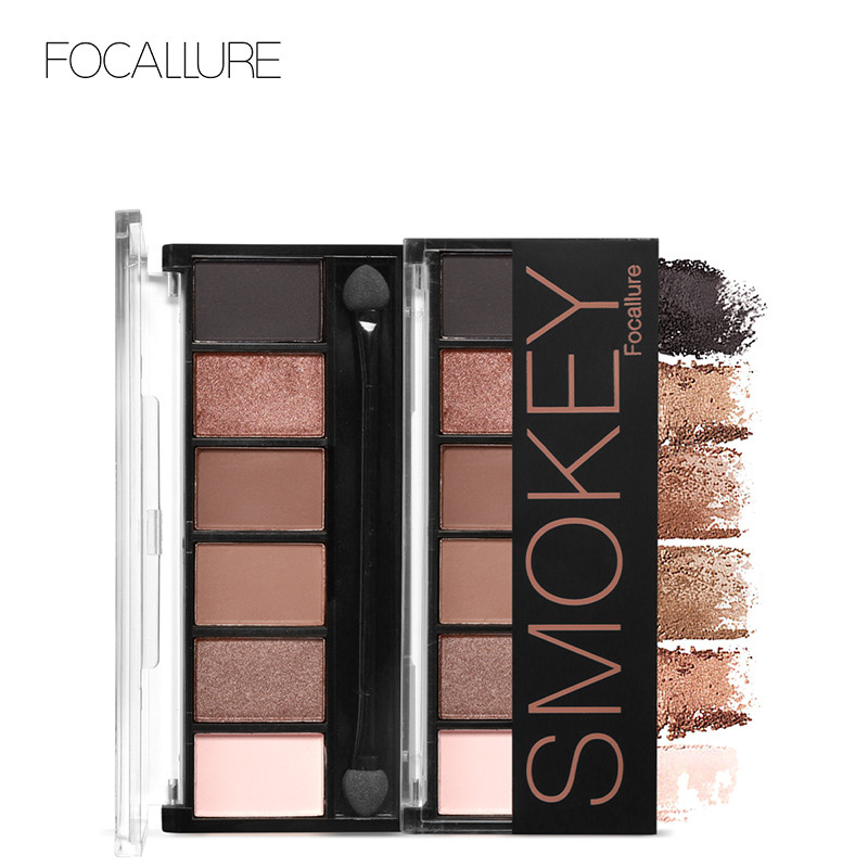FOCALLURE 6 Colors Nude Eyeshadow Palette Glamorous Smokey Eye Shadow Shimmer Matte Color Makeup Kit Eyeshadow Fashion Cosmetics