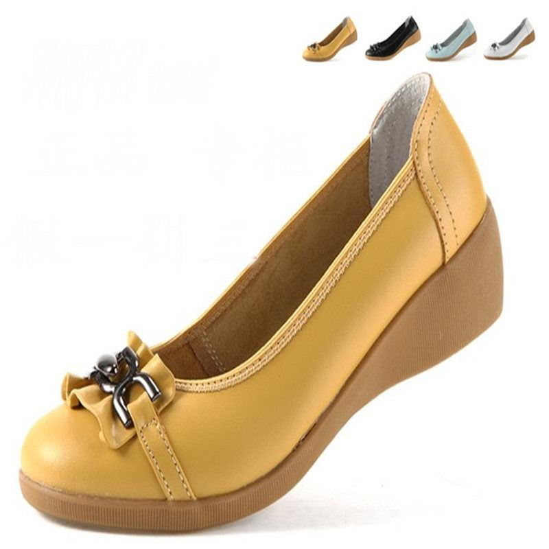 2016 new fashion high heels women pumps,women genuine leather wedge shoes woman single casual shoes