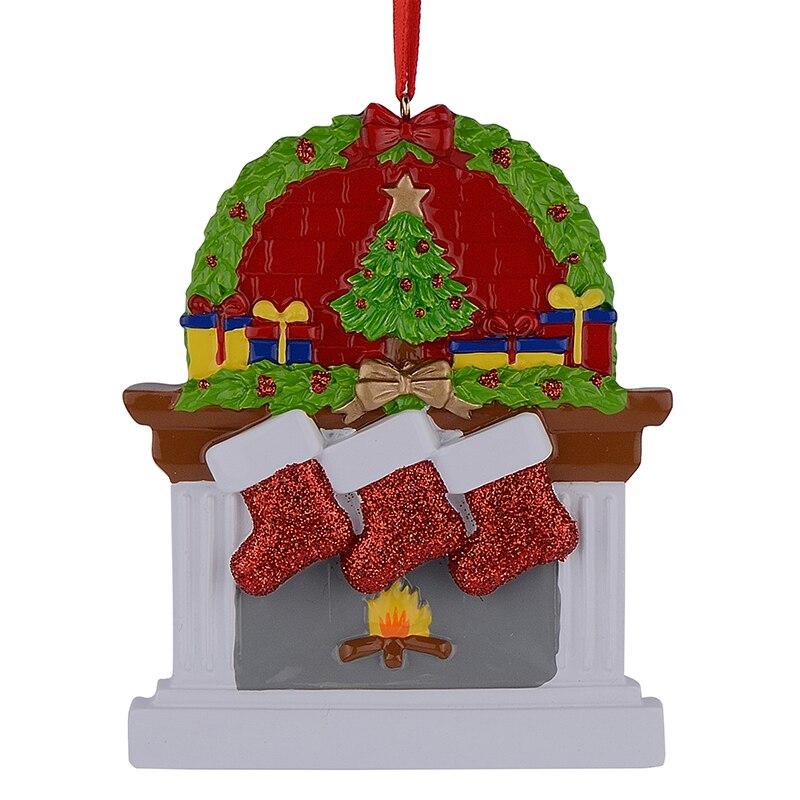 Hars Open haard Glitter Sockings Familie van 3 Kerst Ornamenten - Feestversiering en feestartikelen - Foto 3