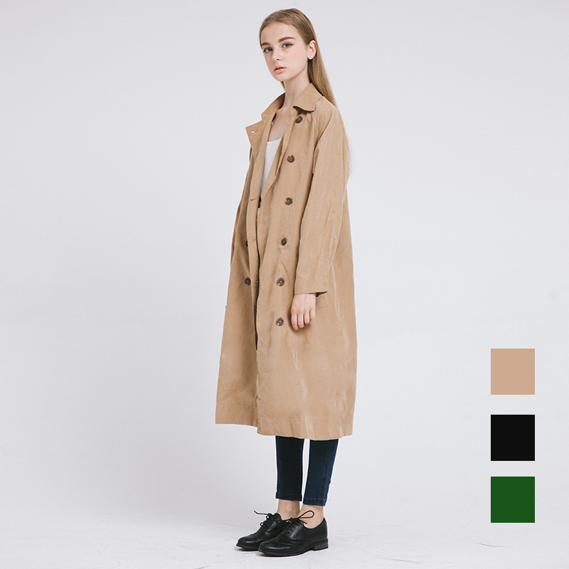 RK001 2016 Classic vintage oversize x-long thin peach skin women long   trench   coat