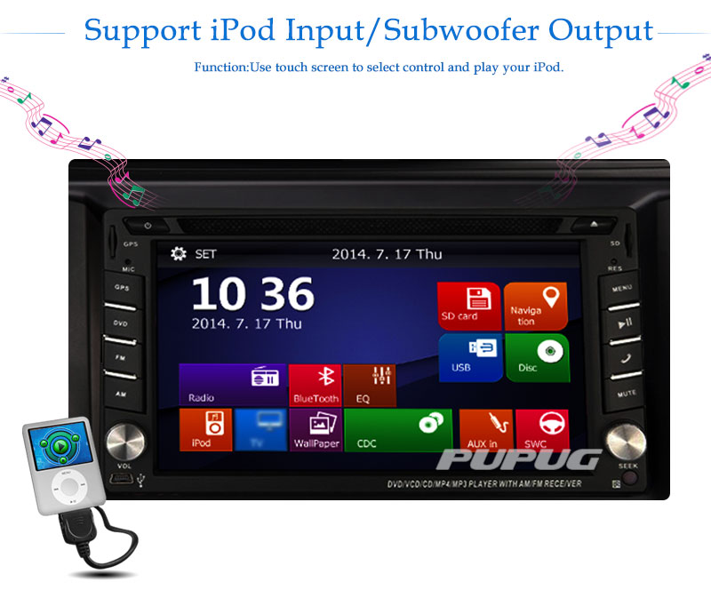 Free Backup Camera Included! EinCar 6.2 Inch Car Stereo Double Din Head Unit Support DVD CD Player GPS Sat Navi FM AM Radio Blue