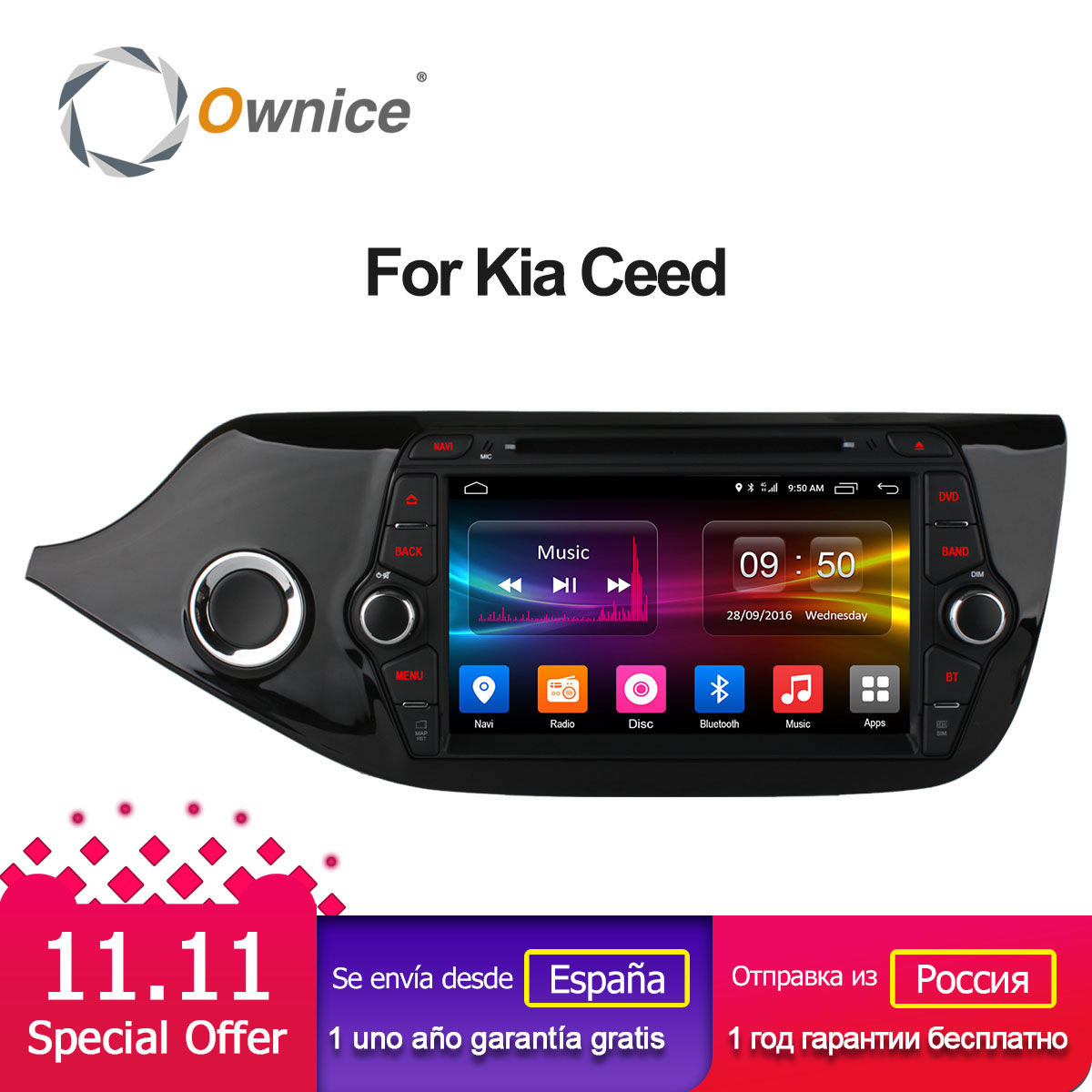 Ownice C500 Octa 8 Core Android 6.0 2DIN 8 1024*600 Car DVD For Kia NEW CEED WIFI Radio GPS 2GB RAM 32GB ROM Support 4G DAB+ ownice c500 g10 octa core 2gb ram 32g rom android car dvd 8 1 gps for mazda 6 summit 2009 2015 wifi 4g lte radio dab dvr