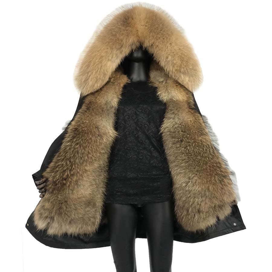 Nova chegada de pele parkas longo 2019 luxuoso pele real parkas grosso quente gola de pele de guaxinim capuz vison muskrat pele forro capa