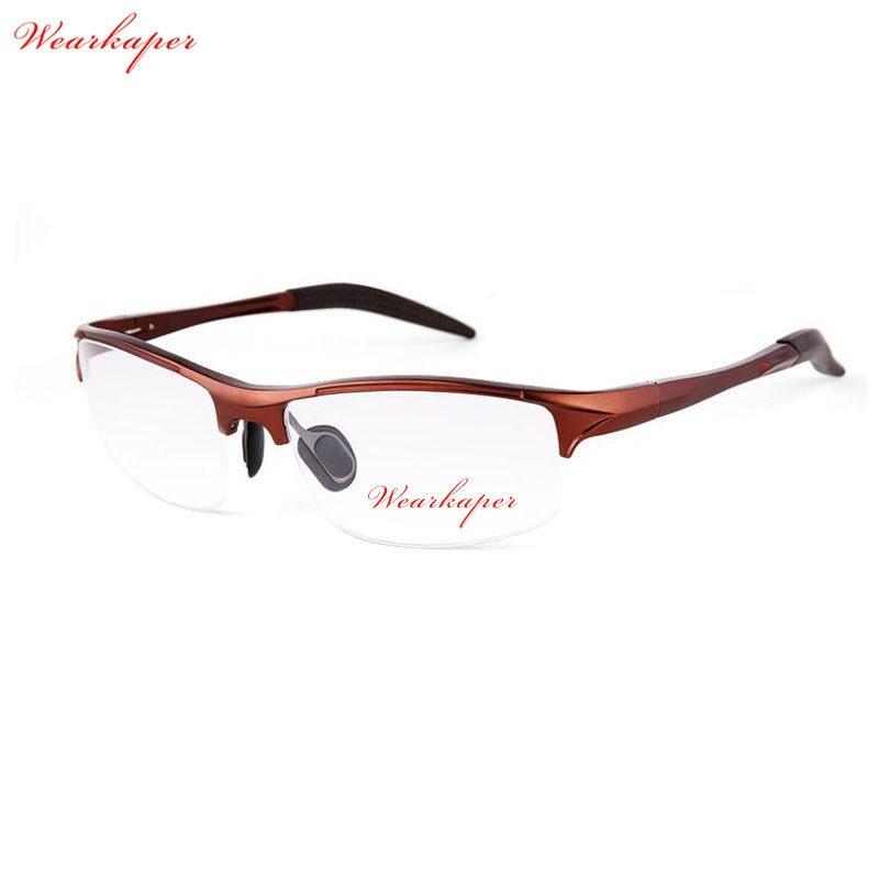 69569e1f3da7a WEARKAPER Retro Metade Óculos de Armação Homens Armações De Óculos  Esportivos de Alumínio E Magnésio Masculino