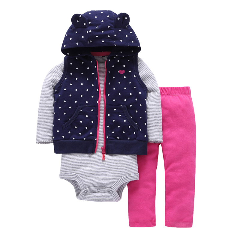 2018 Spring 3PCS Baby Girl Clothes Set Hooded Baby Coat, Long Sleeve Bodysuit and Pants Set Infant Baby Clothing Set, Vest 3pcs set newborn infant baby boy girl clothes 2017 summer short sleeve leopard floral romper bodysuit headband shoes outfits