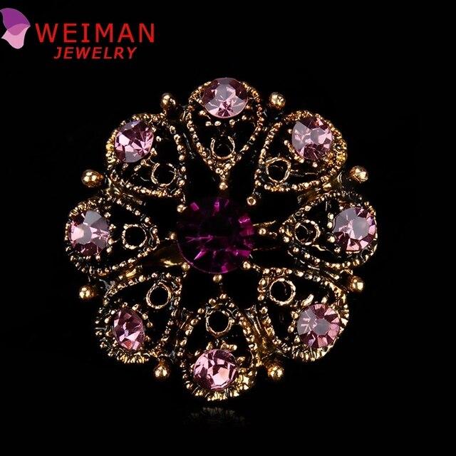 1 шт. розничная торговля малый Античная Позолоченный Хрустальный Цветок Bijoux Брошь Воротник Значки в 12 ассорти