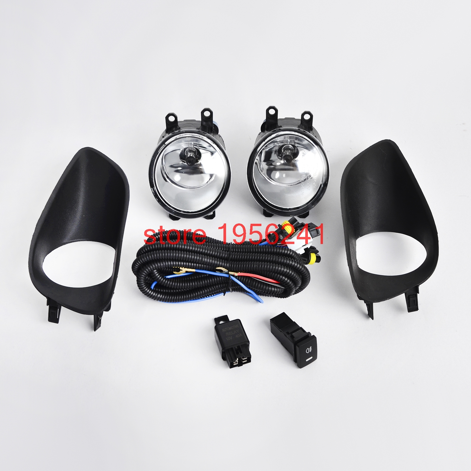 H2CNC 1 Pair Front Bumper Fog Light Clear & Switch Wiring Harness For Toyota Yaris S/Base 2006-2011 Sedan 4-Door