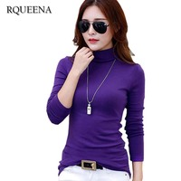 Rqueena Turtleneck Cotton Sweater 2017 Autumn Winter Korean Fashion Elegant Long Sleeve Purple Sweaters For Women