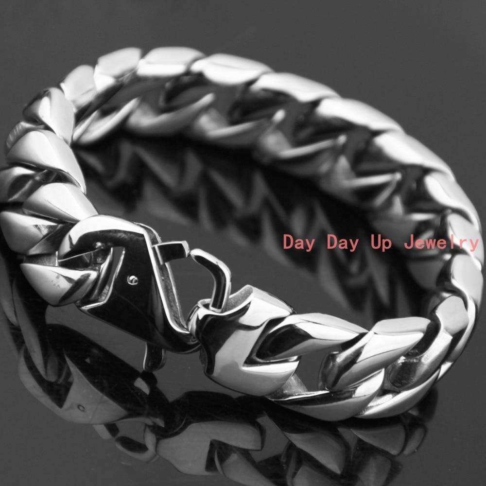 7e9140491fce 8.26   15mm 87g moda caliente 316L acero inoxidable de plata curb cubano  tono enlace hombres pulsera brazalete de moda joyería alta pulido