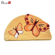 Beautiful New Arrivals Semicircle Anti Slip Blue Bath Mat Thick Bath Rug Butterfly  Printed Bathroom Products