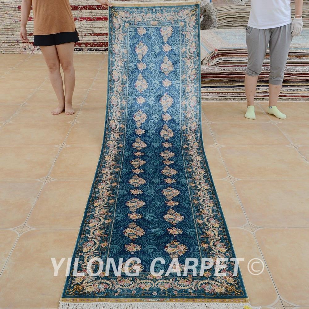 Yilong 2 5 X10 Hereke Tapis De Soie Coureur Bleu Exquis Noues A La