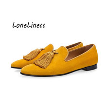 Lonelinecc Luxury Suede Slippers Men Tassel Loafers Shoes Velour Smoking Slip-on Men's Flat Party Wedding Shoes Mens Dress Shoes suede slip on mens shoes