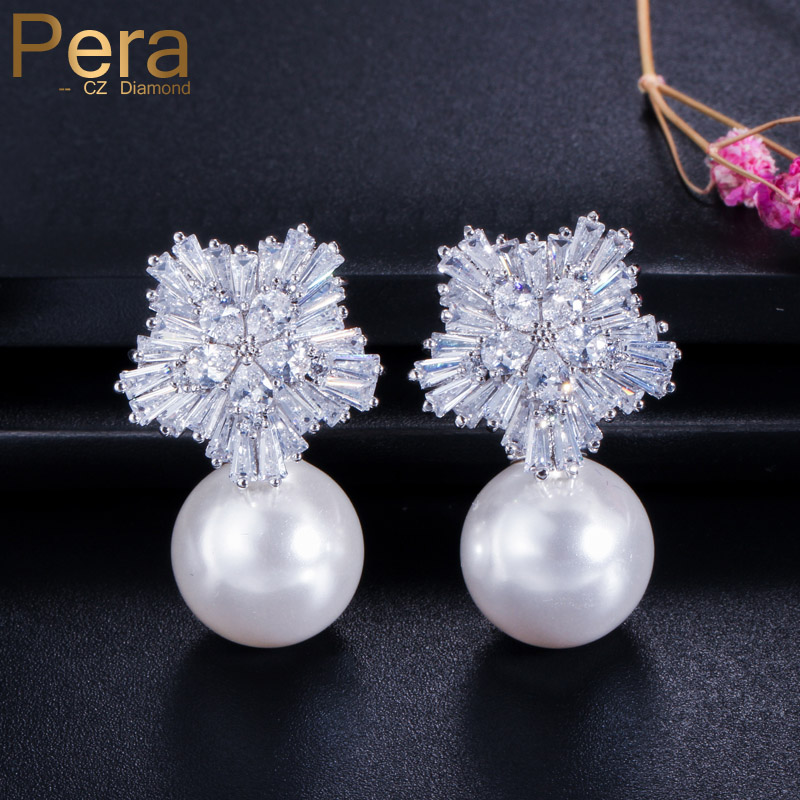 Pera Noble Design CZ Brand Jewelry Big Freshwater Simulated Pearl Long Drop Nupcial Wedding Party Pendientes para novias E027
