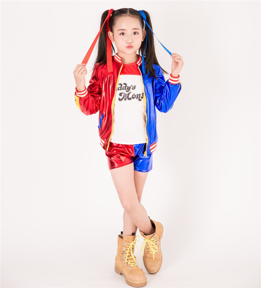 3pcs Hot girls costume jacket T-shirt Tee Lil Monster Suicide Squad Cosplay Halloween Costume for kids Girl