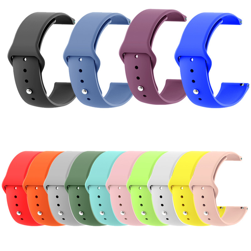 Pure Color 20MM 22MM Silicone Replacement Bracelet For Moto 360/Ticwatch 2/Samsung Gear/Iwatch/Huawei Watch 2/ Xiaomi Watch Belt