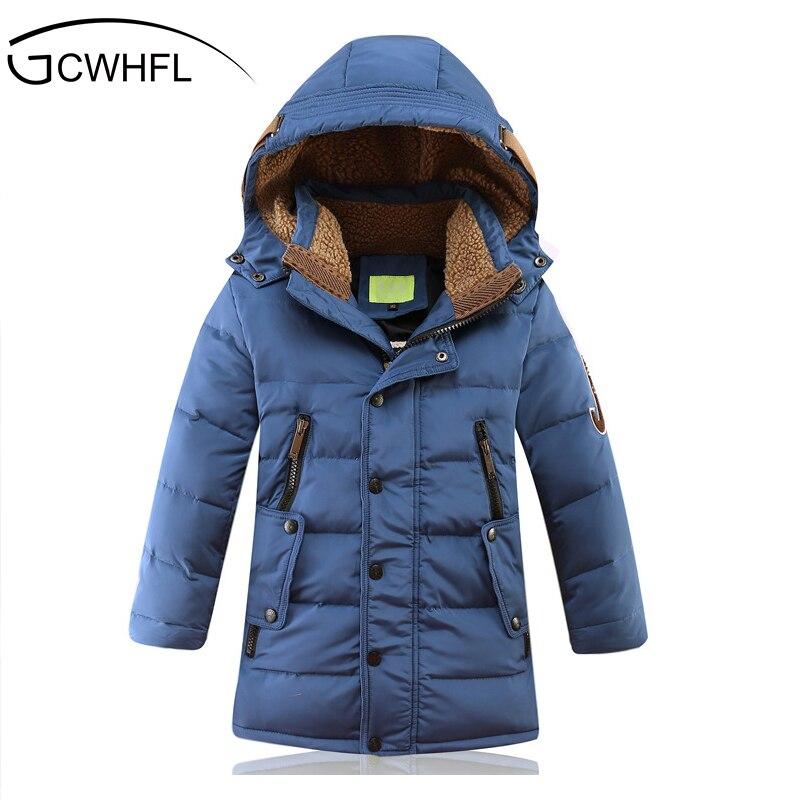 Детские зимние куртки до-30 градусов, стеганая детская одежда на утином пуху, 2018 год, теплое зимнее пуховое пальто для больших мальчиков, утеп...