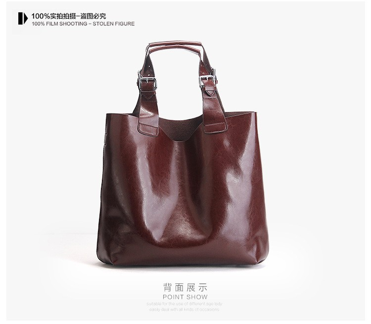 Big Bag Women Handbags Genuine Leather Oil Wax Cowhide Handbags Lady Real Leather shoulder Messenger Bags Generous Fashion Bag (14)