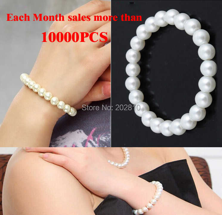 hot cheap price Fashion 10MM white pearl beads bracelet & bangle / Rope chain strand pearl bracelet of girls 2019  Good quality