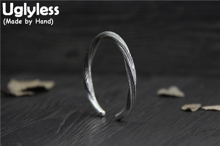 Uglyless Real S999 Silver Fine Jewelry Weave Texture Women Vintage Bangles Twisted Adjustable Bangle Handmade Carved Leaf BijouxUglyless Real S999 Silver Fine Jewelry Weave Texture Women Vintage Bangles Twisted Adjustable Bangle Handmade Carved Leaf Bijoux