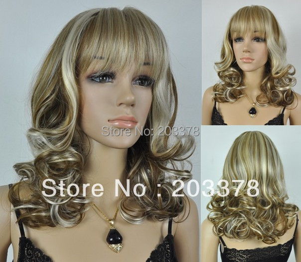 Capless Medium Length Mixed Color Curly  High Quality Synthetic Wigs 10pcs/lot mix order free shipping