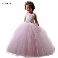 Ball Gown Cap Sleeve Lace Flower Girl Dress Pink Ivory Long Tulle Little Girl Party Gowns vestidos de comunion FLG088