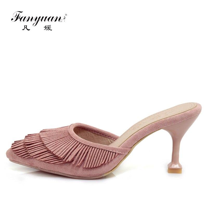 Fanyuan Femmes Talons hauts Sandales Fringe Designer Diapositives Femmes Slip-On Mules Chaussures Rose Stiletto Dames D'été Pantoufles Sandales