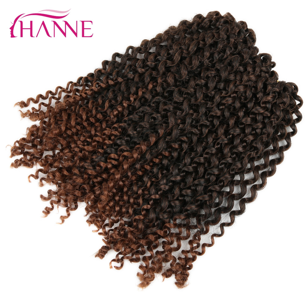HANNE 6Packs Mix Black And Brown Crochet Braids Hair 60g/pack Synthetic 12inch Short Curly Braid Ombre Braiding Hair Extensions