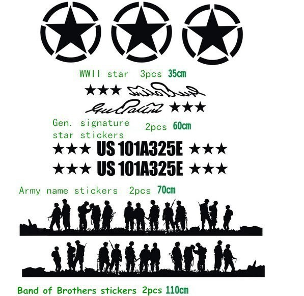Car body door hood stickers band of brothers off road vinyl sticker u s army five star car decals for jeep wrangler compass in car stickers from automobiles