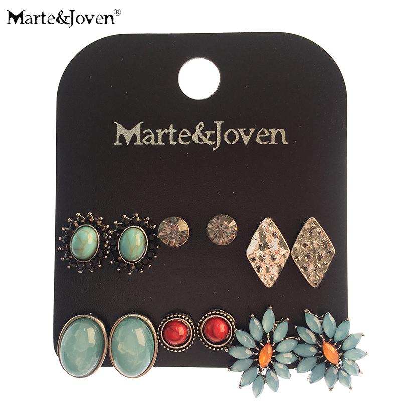 Marte&Joven 6 pcs/set Blue Stone Stud Earrings Set for Women Classic Round/Oval/Rhombic Silver Color Earrings Accessories Gifts