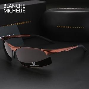 Image 2 - 2020 Aluminum Magnesium Men Sunglasses Polarized Sports Driving Night Vision Goggles Sunglass Fishing UV400 Rimless Sun Glasses