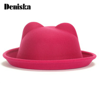 2017 New Arrival Women Winter Autumn Unique Cute Wool Felt Cat Ears Hat Cap Christmas Fodoras