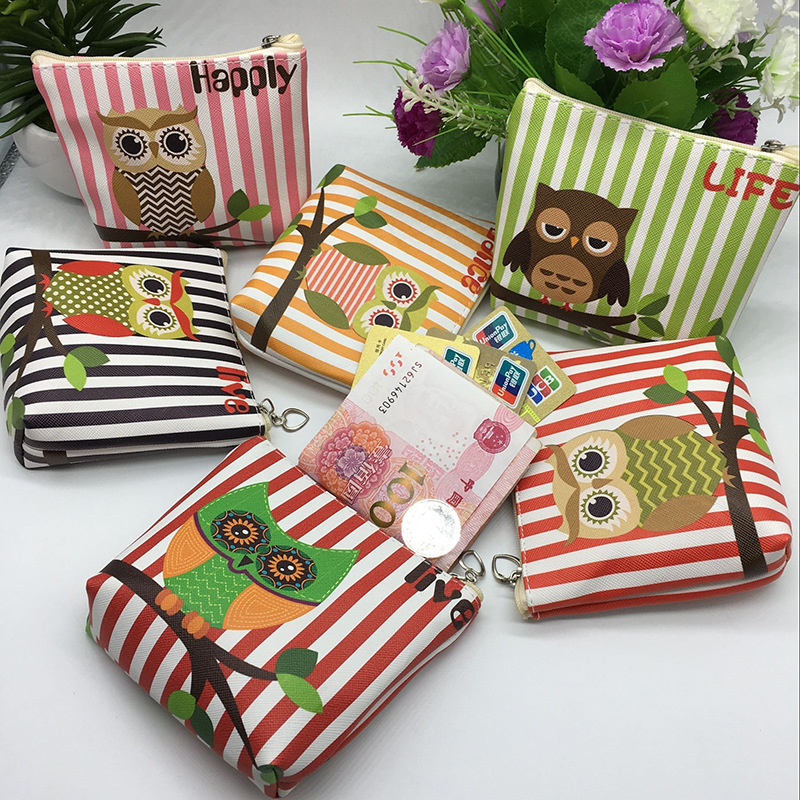 Fashion Women PU Leather Zipper Small Coin Wallet Kawaii Owl Coin Purse For Kids Girls Cartoon Animal Card Pouch Key Bag