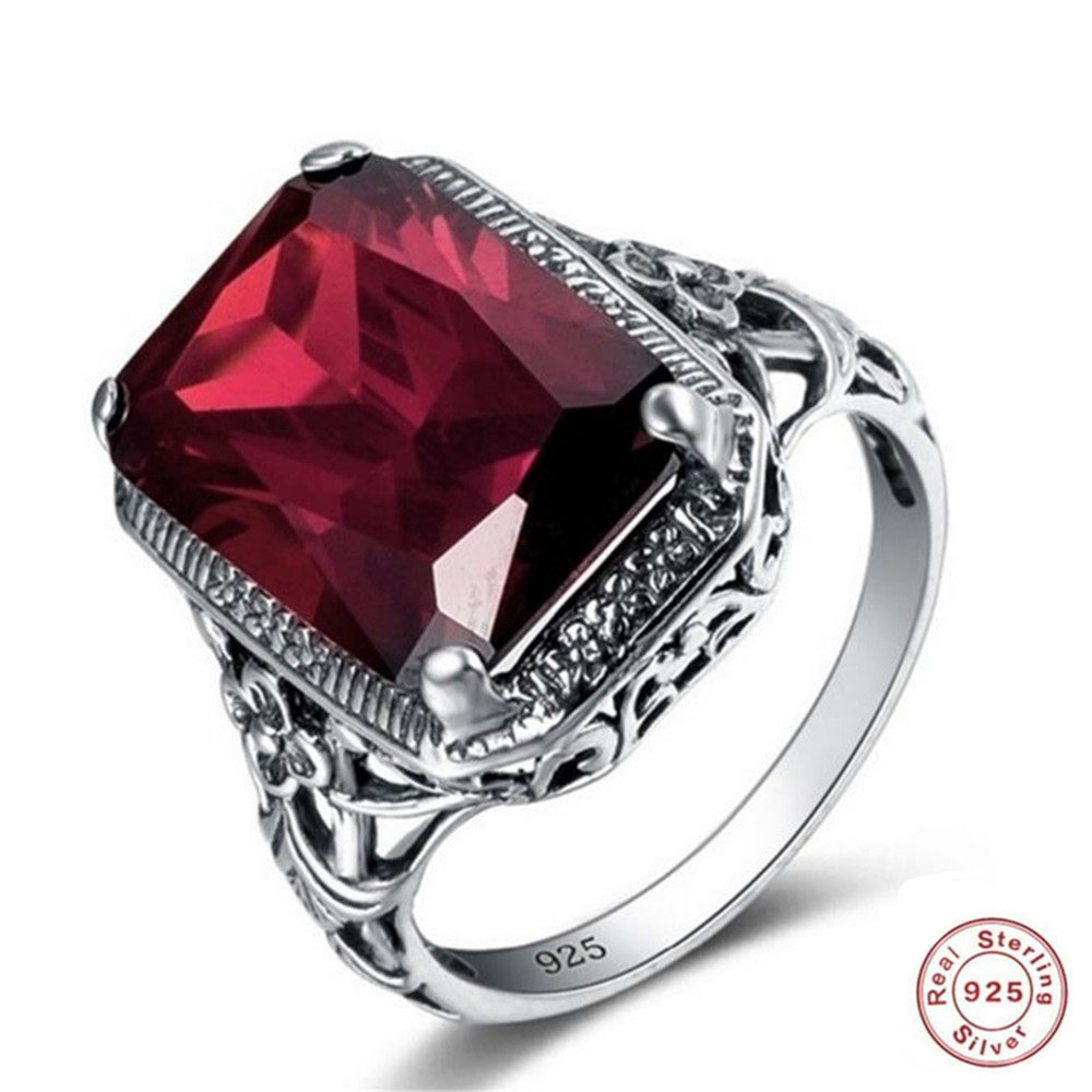 YKNRBPH Men's S925 Sterling Silver Retro Ruby Engagement Ring Square High Quality Men Jewelry