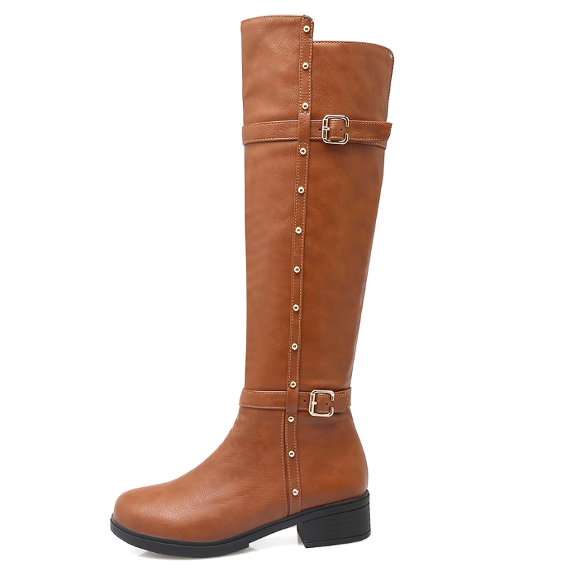 Big Size 34-43 Women Knee High Motorcycle Boots Rivets Decoration Buckle Straps Platform Female Shoes Concise Zipper Boots