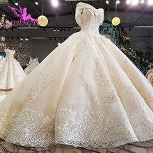 AIJINGYU Orijinal düğün elbisesi Dükkanı Önlük Tarzı Türk Basit Uzun Kuyruk Belarus Ekonomik Elbisesi Web Siteleri Gelin Butik