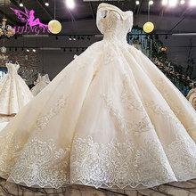 AIJINGYU מקורי חתונת שמלת חנות ידי סגנון תורכי פשוט ארוך זנב בלארוס סביר שמלת אתרי כלה בוטיק